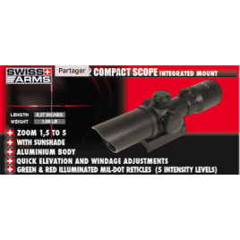 Lunette compacte 1,5-5 X 32 Reti Vert&Rouge